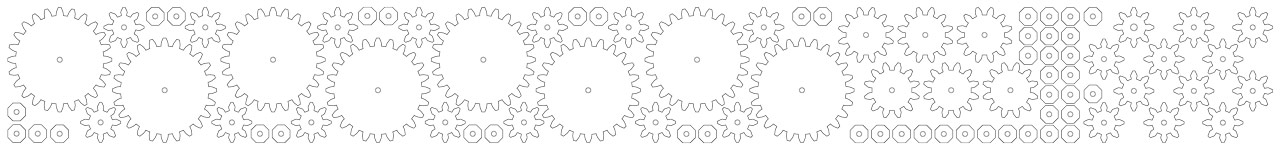 Prepared gears for 1/8 plywood