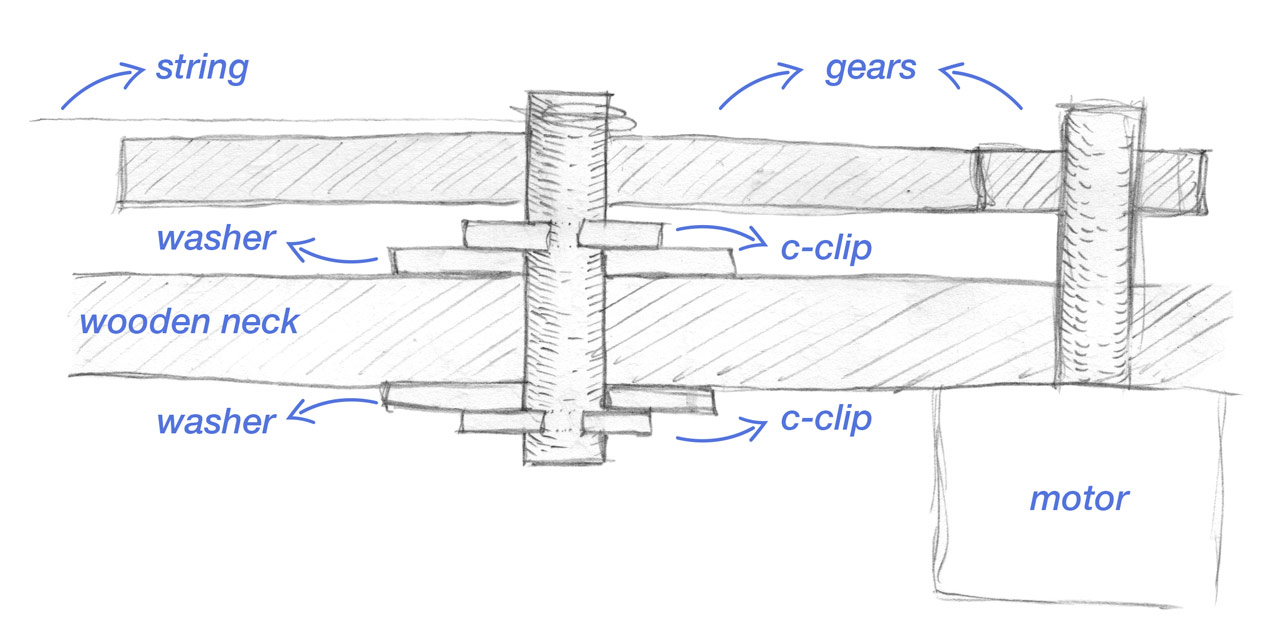Sketch - Side cut of 2nd gear and C-Clips